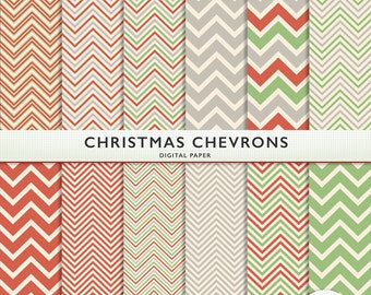 Christmas Chevron Digital Paper  -  Red Green Silver - Holiday - Scrapbooking Commercial Instant Download & Printable G7126