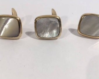 Vintage Simmons Goldtone Mother of Peal Cufflinks with Tie Clip