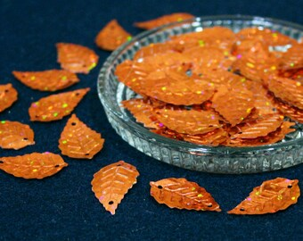 15x25 mm • Orange Glitter Leaf Sequins