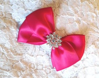 Hot Pink Satin Hair Bow with Rhinestone Center, Hot Pink Flower Girl Hair Bow, Hair Bow with Rhinestones
