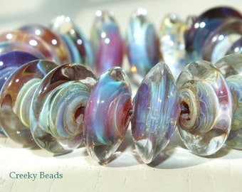 "Handmade Lampwork beads ""Silvered glass Blue/green/Purple Saucers""! Creeky Beads SRA"