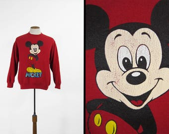 Vintage Mickey Mouse Sweatshirt Red 1990s Made in USA - Large