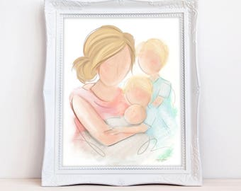 Mother Son, Mother Child, Gift for Mother, Mother Son Art, Nursery Wall Art, Mother and Baby Gift, Boy's Room Decor, Nursery Wall Art Decor