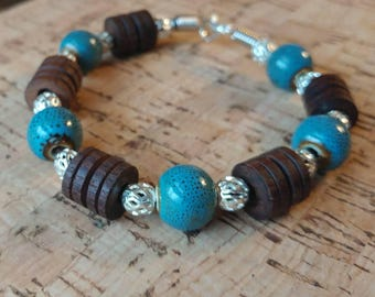 Leather Cord with Wood and Ceramic Bead Bracelet size medium