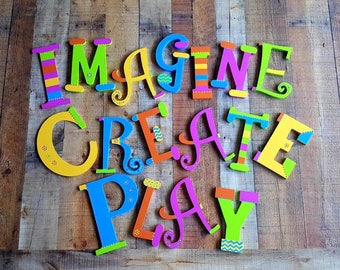 Play Room Decor - Kids Decor - Play Letters - Read Letters - Create Letters - Imagine Letters - Fun Letters