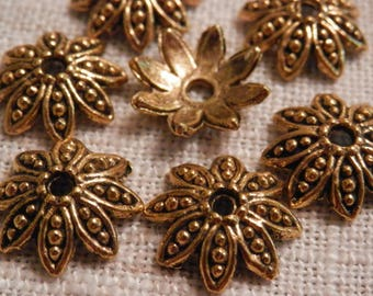 Flower Beadcaps Antique Gold Beadcaps Beading Supplies Jewelry Supplies DIY Supplies