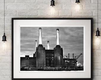 Attractive London Battersea Power Station Industrial Art Print, Modern Black And White  Photography, Architecture Wall Art, Office Decor