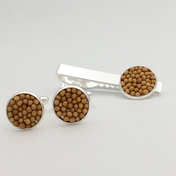 JW Mustard Seed Tiebar/Cufflink Set. Silver-tone or Antique Brass ,  Blue velvet gift pouch included. Also available: matching lapel pin