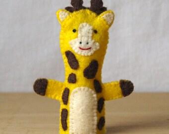Felt finger puppet, giraffe, animal puppet, storytime puppet