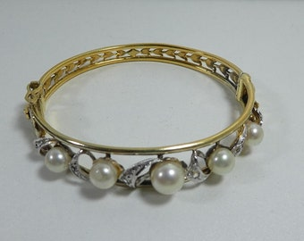 Sterling Silver 925 Gilt Bangle Bracelet Vintage Pearl Paste