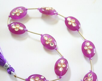PINK Gorgeous Kundan Gemstones - Top Drilled Gemstone beads from India (2)