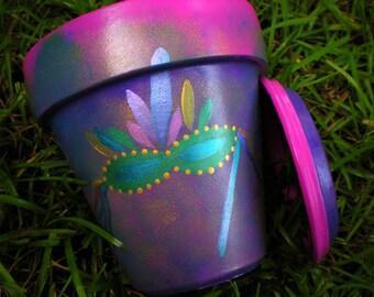 Mardi Gras Flower Pots - Hand Painted - Mardi Gras Gifts - Painted Flower Pot