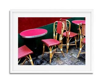 Fine Art Photograph of a Parisian coffee shop in Paris - Canvas Print of Paris - France - Wall Decoration - Travel