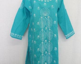 Boho Tunic Embroidery Tunic Plus Size Cotton Tunic Turquoise