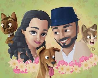 Custom caricature Family Portrait  - Personalized gift custom cartoon style - Custom portrait, handmade gifts, caricature maker, portrait