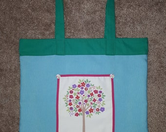 Flourished tree of spring tote