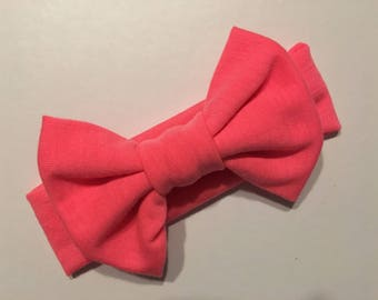 Coral Headband, Bright Pink Headband, Big Bow Headband