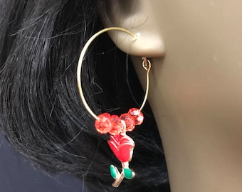 Flower earrings, Gold Bead Hoops Earrings, Gold Hoops, Gold Earrings w/ Rose, Summer Earrings, Dainty Earrings, Boho Earrings, Red Earrings