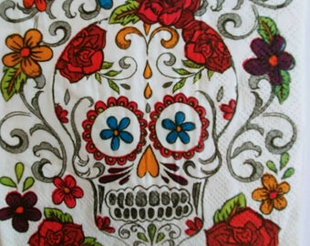 3 paper napkins for decoupage sugar skull day of dead Dia de muertos