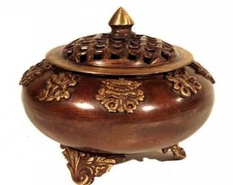 Tibetan incense burner - 8 AUSPICIOUS SYMBOLS