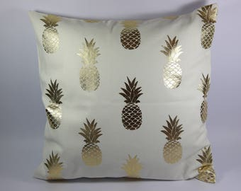 Square Cushion cover, Golden pineapple.