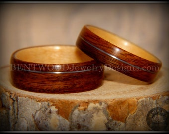 Bentwood Rings Set - Rosewood Maple Liner with Silver Wire Inlay