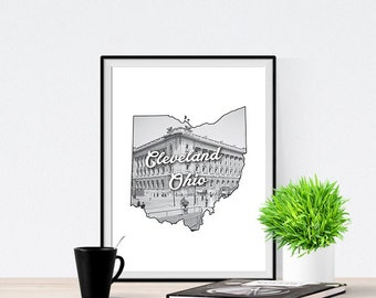 Cleveland Courthouse Ohio State City Art Print Poster