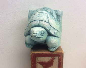 Concrete turtle tile, decorative tiles, garden sculpture, turtle totem, turtle tile, turtle tile with halo, turtle wall sculpture