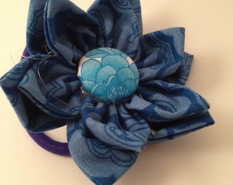 Shades of Blue Flower Ponytail