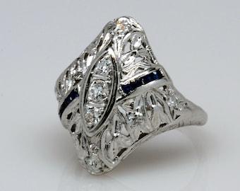 VINTAGE Sapphire and Diamond 18 Karat White Filigree Fashion Ring