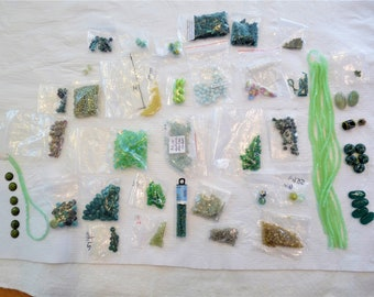 DESTASH Selling my GREEN Beads for Crafts Beading