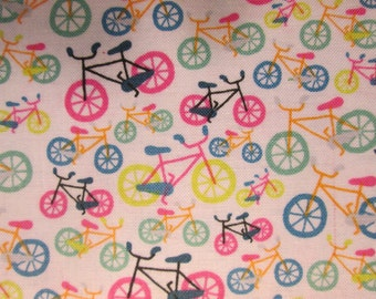 Bicycles Small Bikes Pastels Colors Cotton Fabric Fat Quarter or Custom Listing
