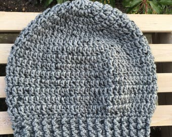 Gray Simple Slouch Handmade Crochet Hat Toddler Child Teen Adult