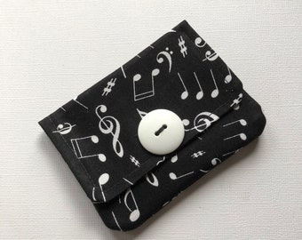 Fabric Card Holder Music Note Fabric Credit Card Holder Business Card Holder, Purse Accessory Gift Card Holder Pocket Wallet Musician Gift