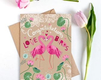 Congratulations Card - Wedding Card - Engagement Card - Anniversary Card - Love Birds Card - Flamingos - Card for the Happy Couple