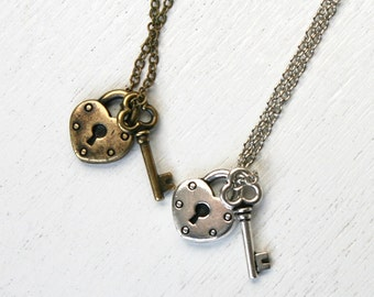 Key and Lock Necklace, Open Your Heart Necklace, You and me necklace,  (Antique Silver or Antique Brass)