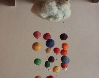 Mobile cloud multicolor felted wool felting wolle