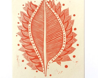 linocut - BURNING LEAF // 9x12 art print // printmaking // block print // red // wall art // nature art // original art // leaves // 8x10