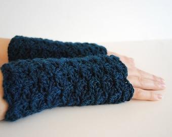 Green blue fingerless gloves, crocheted, handmade, ready to ship