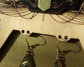 Labradorite earrings brass ~*~ tribal jewelry
