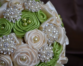 Wedding Bouquet - Satin Ivory with Green Leaf Satin - Elegant Brooches - Original One Of A Kind Bouquet