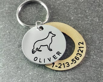 Free shipping  - Personalized dog tag - hand stamp dog tag - Identification Tag  - dog ID tags  - German Shepherd   dog  tag