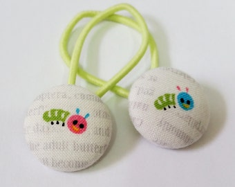 Ponytail holders - Kawaii Caterpillars - fabric covered button hair ties