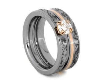 Moissanite Bridal Ring Set, Mimetic Meteorite and 14k Rose Gold Rings, Womens Wedding Ring, Womens Engagement Ring