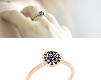 Sapphire Ring - Dainty Rose Gold ring with 19 blue Sapphire stones - Anniversary ring - Free shipping