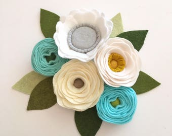 FELT FLOWERS// Loose Felt Flowers // Unattached Felt Flowers // DIY Flowers // Flower Embellishments // Set of 5 // You Pick Colors
