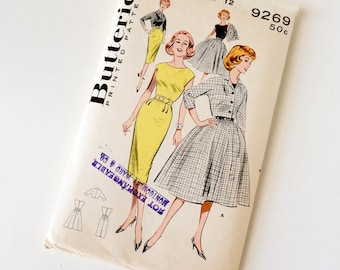 Vintage 1960s Womens Size 12 Sheath or Bouffant Dress and Jacket Duo Butterick Sewing Pattern 9258 Complete / bust 32 waist 25