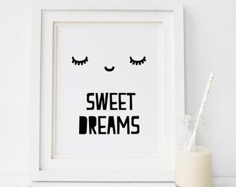SALE Sweet Dreams Print, Black and White Print, Kids Decor, sleepy eyes, Nursery Print, Kids Print, Sweet Dreams, Kids Room, Modern Nursery