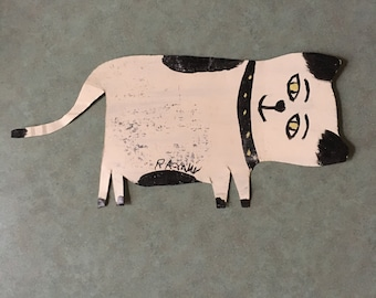 R A Miller Cat Outsider Art Paint on metal CAT