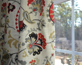 Pair of Custom Curtains or Drapes, any size available, Waverly Siren Song Graphite, flowers inTomato Red, Charcoal Grey, Silver Grey Khaki